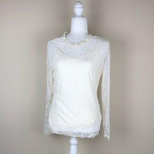 H&M | Cream Lace Long Sleeve Top NWT Tank Elegant